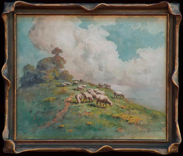 Carl Dahlgren Sheep on a Hillside with Frame