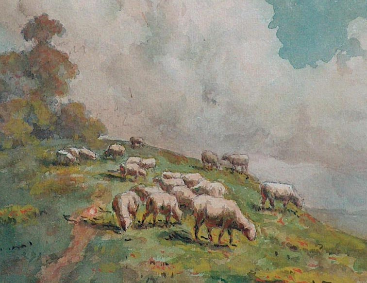 Carl Dahlgren Sheep on a Hillside Closeup