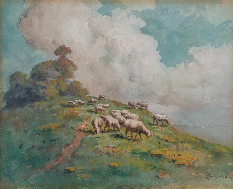 Carl Dahlgren Sheep on a Hillside