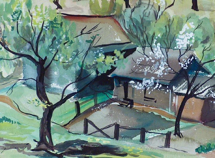 Virginia Chism Darce Spring Landscape 1944 Closeup