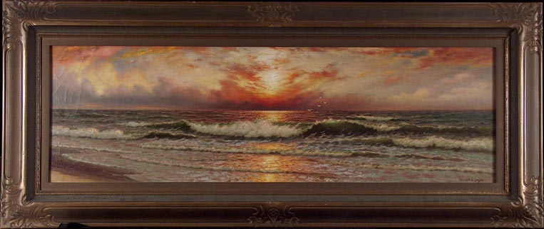 Richard Dey De Ribcowsky Sunset and Rolling Waves with Frame