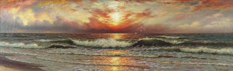 Richard Dey De Ribcowsky Sunset and Rolling Waves
