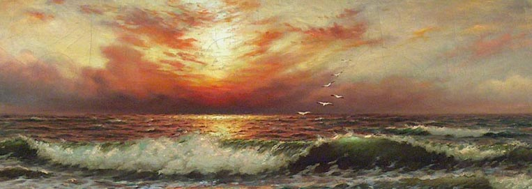 Richard Dey De Ribcowsky Sunset and Rolling Waves Closeup