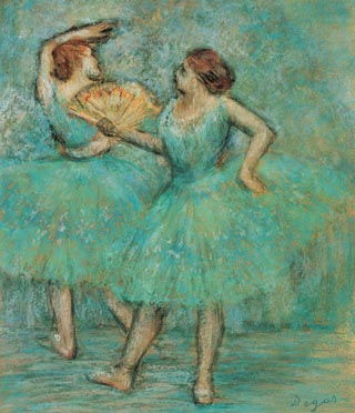 Paul Degas Two Dancers Pastel and Charcoal