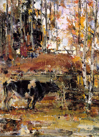 Nicolai Fechin Cows and Aspens