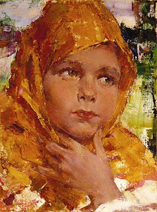 Nicolai Fechin Girl in an Orange Shawl