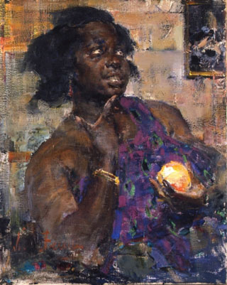 Nicolai Fechin Negro Girl with an Orange