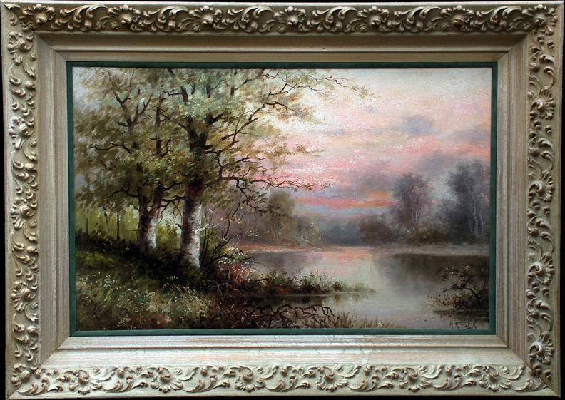 Henrietta Riddle Fish Marsh Sunset with Frame