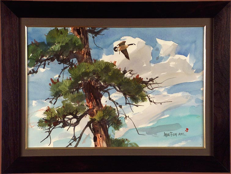 Jade Fon Great Canada Goose and Tree with Frame