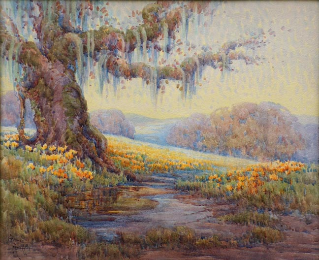Grace Myrtile Allison Griffith Early Summer California Mossy Oak with Poppies