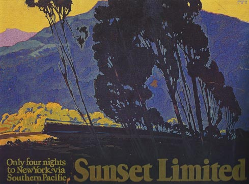 Sam Hyde Harris poster for the Southern Pacific's Sunset Limited