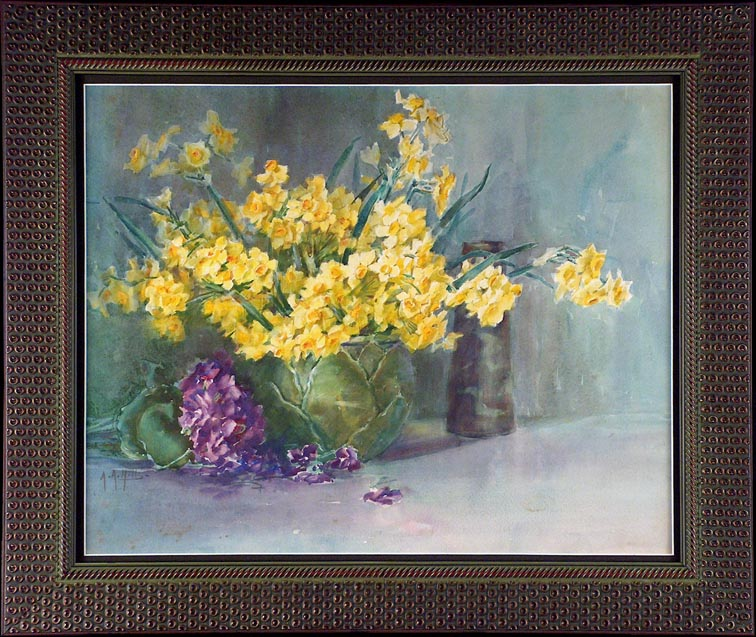 Anna Althea Hills Yellow Daffodils with Frame
