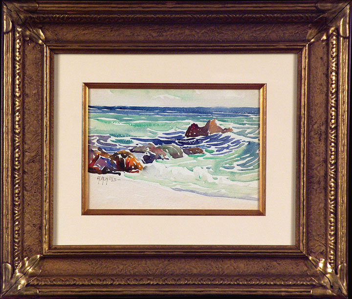 Anna Hills Laguna Shore with Frame Watercolor
