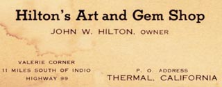 Hilton's Gem Shop Business Card