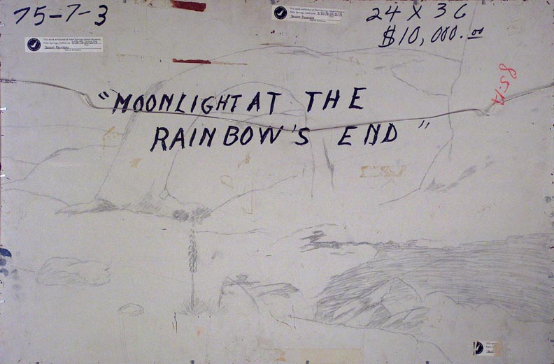 John W Hilton Moonlight at the Rainbow's End Verso Sketch