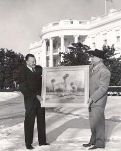 John W Hilton donating a painting to Dwight Eisenhower at the White Hosue 1957