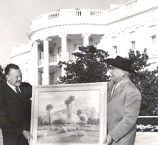 John Hilton offering a painting at the White House