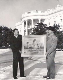 John Hilton presents his painting to Ike's Oval Office in 1957