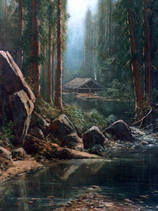 Holdredge Ransome Gillet Cabin in the Redwoods Closeup