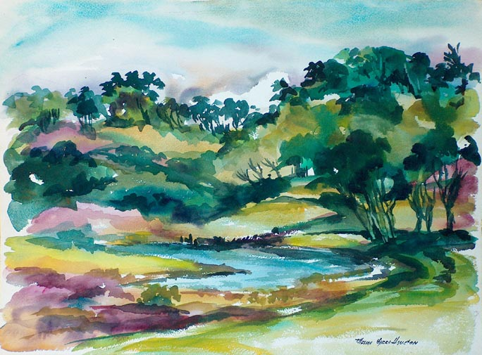 Thelma Speed Houston Golden Gate Park Pond San Francisco California Style Watercolor