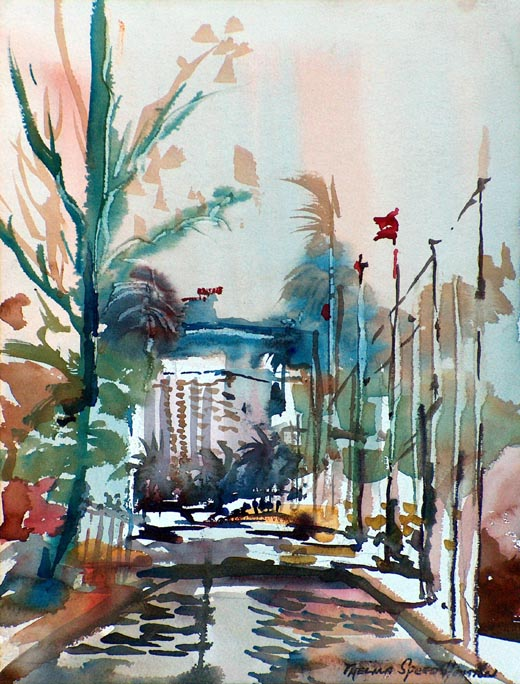 Thelma Speed Houston Plaza Entry California Style Watercolor