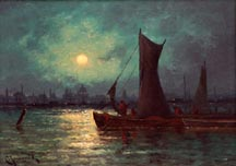 Carl Henrik Jonnevold Moonlight over the River Thames in London Midsized Thumbnail