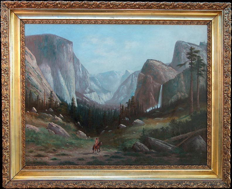 Carl Jonnevold Indian on horseback Yosemite Valley late 1880's with frame