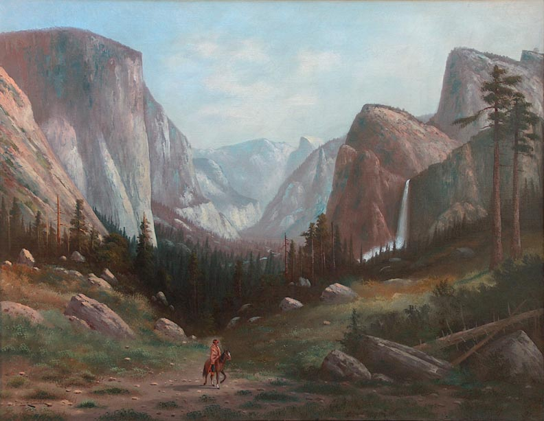 Carl Jonnevold Indian on horseback Yosemite Valley late 1880's