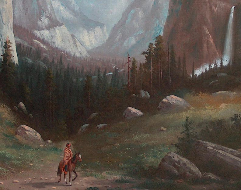 Carl Jonnevold Indian on horseback Yosemite Valley late 1880's Closeup