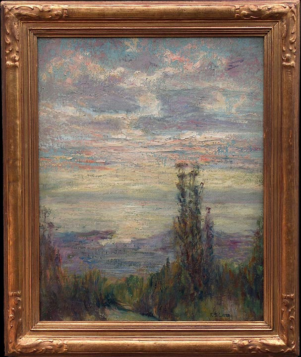 Frederick Stymetz Lamb Imressionist View of SF Bay from the Berkeley Hills with frame