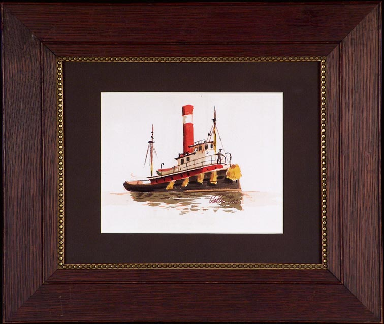 Jake Lee Tug Boat with Figure with Frame