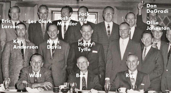 Joshua Meador with Walt Diney and other pioneers of animattion at Ben Sharpsteen' Retirement dinner in February 1959