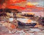 Joshua Meador Untitled Red Sunset and Boats on a Beach
