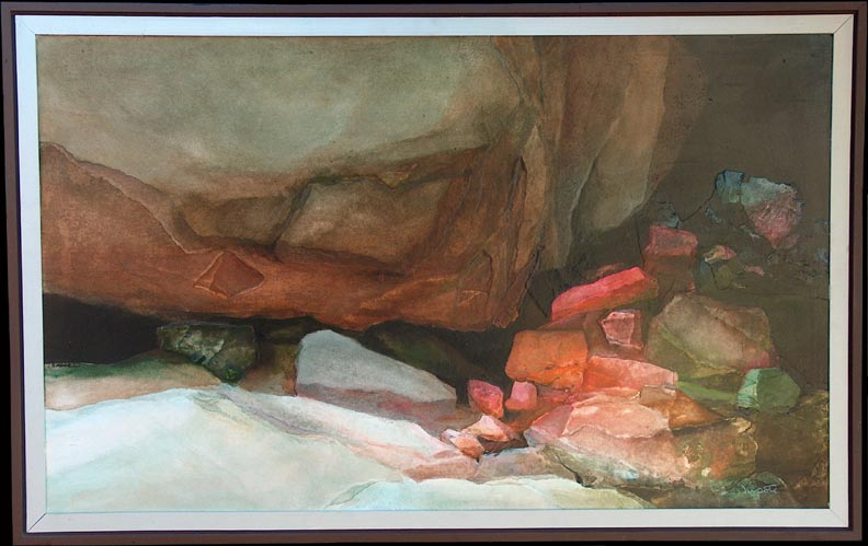 Alexander Nepote Colorful Cliff Grotto with Frame