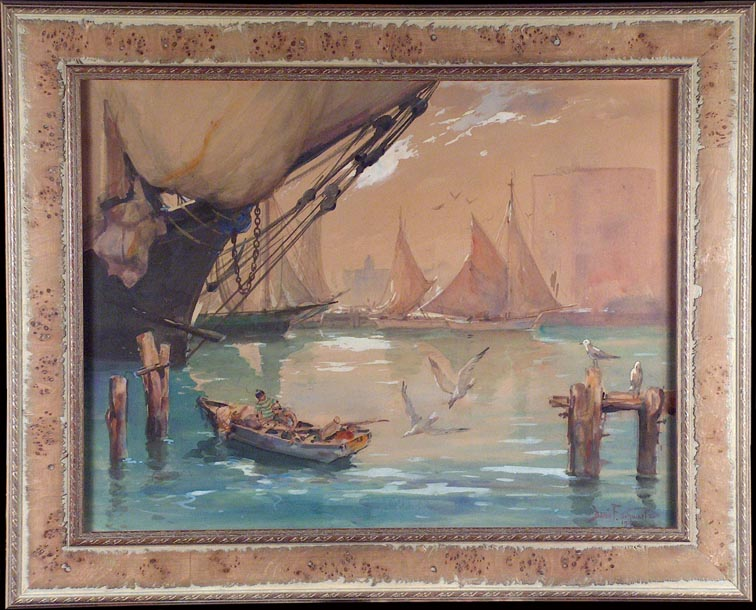 Davis Francis Schwartz Boys Fishing on the Bay with Frame