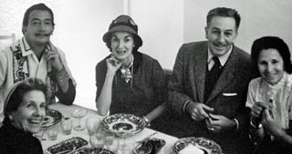 Walt and Lillian Disney visiting Salvador Dali in Spain in 1957