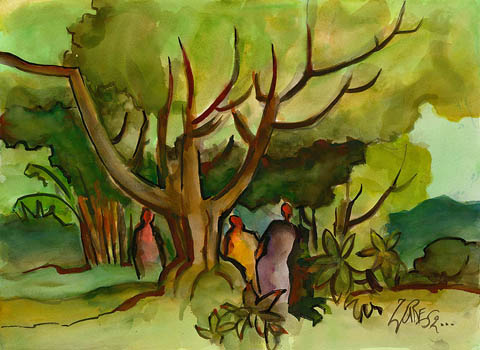 Milford Zornes Untitled Tree and People