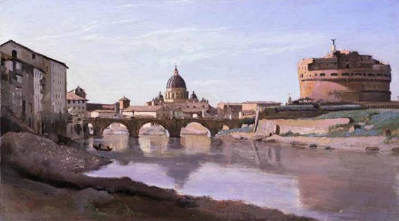 Jean Baptiste Camille Corot The Bridge and Castel SantAngelo
