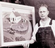 Grant Wood with a Painting