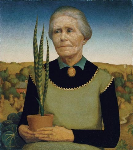 Grant Woods Woman with Plants