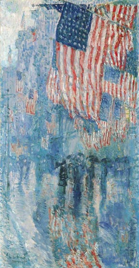 Child Hassam Avenue in the Rain 1917 White House Collection