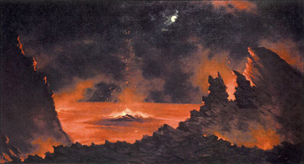 Jules Tavernier Volcano at Night 1880s