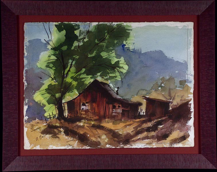 Ralph Baker Deserted Cabin with Tree with Frame