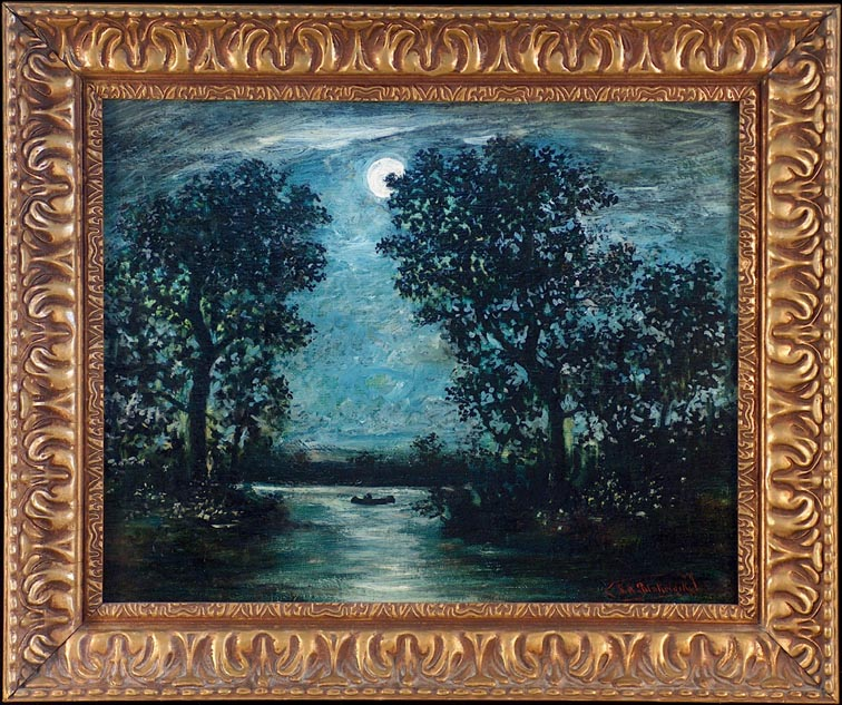 After Ralph Albert Blakelock Canoe in Moonlight with Frame