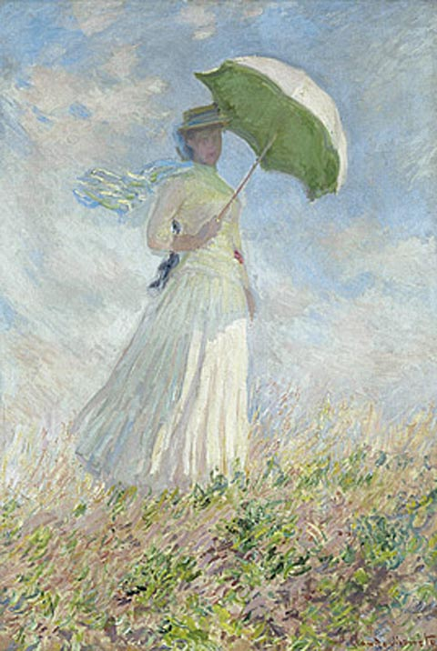 Claude Monet 1840-1926,  Study of a figure outdoors: woman with a sunshade turned to the right, 1886