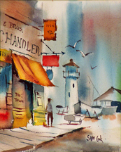 Sam Cook Harbor Inlent Oregon with Lighthouse Midsized Thumbnail