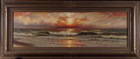 Richard Dey DeRibcowsky Sunset and Rolling Waves Large Midsized Thumbnail