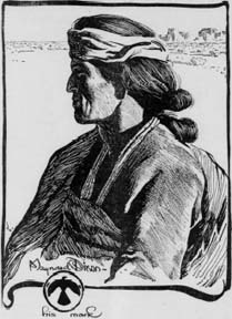SF Call Illustration Portrait of a Navajo by Maynard Dixon 1904