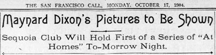 SF Call Story Title Maynard Dixon's Pictures to be Shown