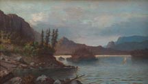 Horace Wolfe Duesbury Sierra Nevada lake with sailboat Midsized Thumbnail